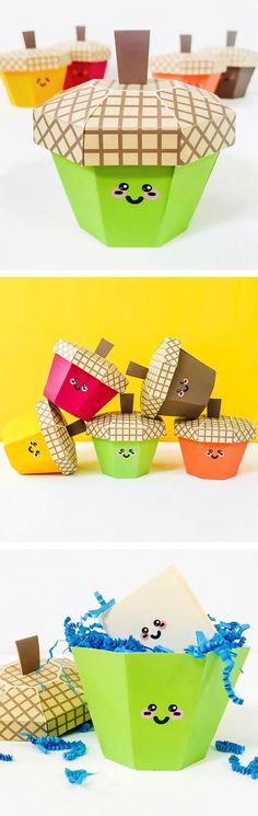 These cute little kawaii acorn boxes have a cap that lifts off to reveal favors or a secret place for kids to stash tiny notes of gratitude for Thanksgiving.