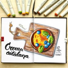 Art Drawings Sketches, Cute Drawings, Copic Sketch Markers, Sketch Inspiration, Food Drawing, Marker Art, Beautiful Drawings, Copics, Food Illustrations