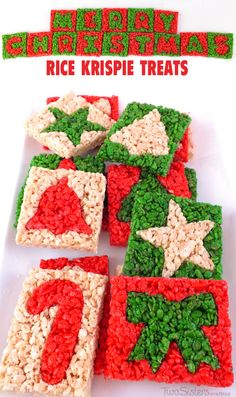 Merry Christmas Rice Krispie Treats - Christmas Cookie Cutters are used to make these adorable and yummy Christmas Treats. It'is a colorful and festive Christmas Dessert that everyone will love. Merry Christmas, Christmas Snacks, Christmas Goodies, Holiday Treats, Holiday Desserts, Christmas Recipes, Christmas Rice Krispie Treats, Christmas Parties, Christmas Ideas