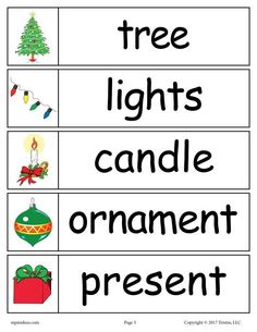 Christmas Word Wall Words: tree, lights, candle, ornament, present Christmas Writing, Christmas Words, Preschool Christmas, Christmas Activities, Christmas Themes, Christmas Fun, Xmas, Holiday Themes, Holiday Traditions