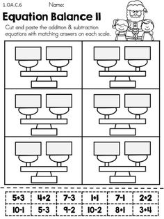 Equation Balance >> Cut and paste addition and subtraction equations that equal on the balance scales >> Part of the Christmas 1st Grade Math Worksheets packet