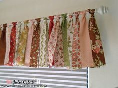 Valance made from jelly rolls from The Crafty Quilter. Going with scraps for my … Valance made from jelly rolls from The Crafty Quilter. Going with scraps for my sewing room windows ; No Sew Curtains, How To Make Curtains, Rod Pocket Curtains, Window Curtains, Shower Curtains, Fabric Strip Curtains, Shower Window, Fabric Garland, Room Window