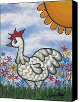 Chicken Canvas Prints - Sylvia Canvas Print by Molly Roberts