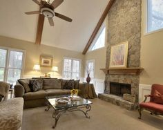 Love the field-stone fireplace.