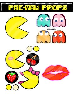 Pac-man Photo Props Party Printables, Ghosts and Mrs Pac-man Lips Cherry 80s, DIY