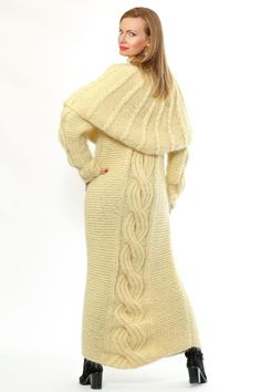 SUPERTANYA IVORY Hand Knitted Mohair Sweater Fuzzy Long Dress and Pelerine #SuperTanya #Crewneck