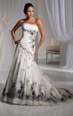 Fantastic White Satin Strapless Dropped Bridal Wear with Black Applique-accented, Quality Unique Wedding Dresses - Dressale.com