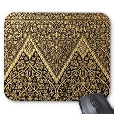 Gold Indian Motif Floral Mouse Pads