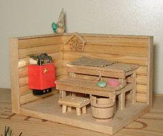 Sauna - Anitan nukkekoti-miniatyyrit - Vuodatus.net Barbie Furniture, Miniature Houses, Home Projects, Toy Chest, Storage Chest, Diy And Crafts, Indoor, Dolls, Retro