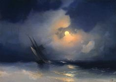 Storm at Sea on a Moonlit Night - Ivan Aivazovsky (1817-1900)