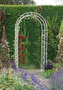 Gardman Decorative Metal Garden English Rose Arch Outdoor Archway in White