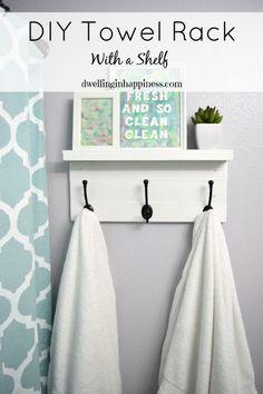 DIY Towel Rack With A Shelf Bathroom Hooks Hook Rack And Hooks - White bathroom shelf with hooks for bathroom decor ideas