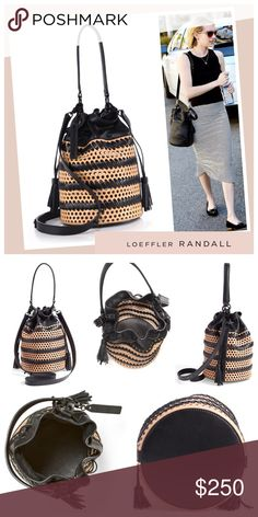 """NWT Loeffler Randall Bi-color Industry Bucket Bag Crafted from soft, supple leather in a bucket silhouette, this classic style is boldly updated with a perforated body and contrast whipstitching, finished with a tasselled drawstring closure. Very Spacious (see pic 5)!!! Top handle, 6.5"""" drop. Removable, adjustable shoulder strap, 17""""-21"""" drop. Drawstring closure. Black hardware. Unlined. 6.5"""" W X 10"""" H X 6.5"""" D. Leather. Color: natural & black. Item is NWT, no wear, flaws, or dust bag…"""