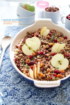 Quinoa Stuffing with Apple, Sweet Potato & Hazelnuts | Gluten Free Recipe on FamilyFreshCooking.com © MarlaMeridith.com #Thanksgiving