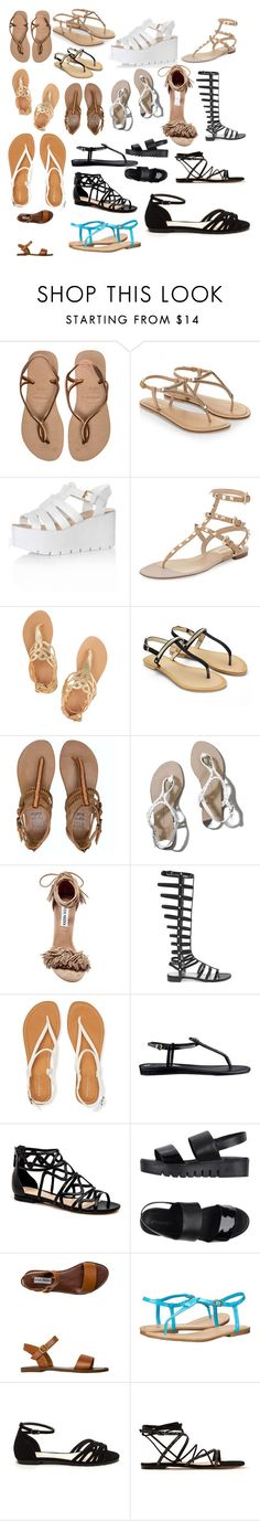 """""""Sandals"""" by ladytaurus-queengrizzly ❤ liked on Polyvore featuring Havaianas, Accessorize, Glamorous, Valentino, Ancient Greek Sandals, Billabong, Abercrombie & Fitch, Steve Madden, Stuart Weitzman and Aéropostale"""