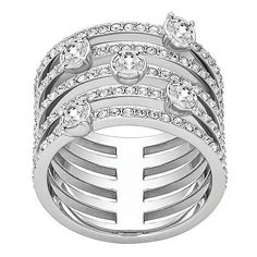 Swarovski Creativity Swarovski Crystal Ring (€155) ❤ liked on Polyvore featuring jewelry, rings, silver, swarovski jewelry, swarovski rings, swarovski crystal rings, stackable rings and swarovski jewellery