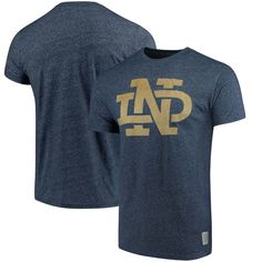 Notre Dame Fighting Irish Original Retro Brand Interlock II School Logo Mock Twist T-Shirt - Navy