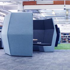 Open Meeting Pods come in different shapes and sizes. We generally consider an open pod as a pod without doors and isn't fully enclosed. Office Pods, Concave, Armchair, Group, Shape, Medium, People, Furniture, Design