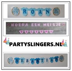 Geplastificeerde romperslingers met naam. Partyslingers.nl