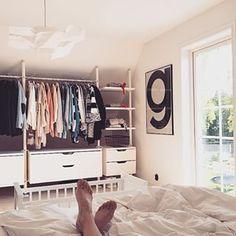 Discover thousands of images about Sovrummet Wardrobe Doors, Wardrobe Rack, Stolmen Ikea, Clever Closet, Multipurpose Room, Closet System, Attic Spaces, Closet Designs, Closet Bedroom