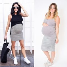 Taking some baby bump inspo from local blogger @blackwhiteandbrunette. Achieve a similar look by color blocking layers over our nursing friendly snap tank. #styleprops