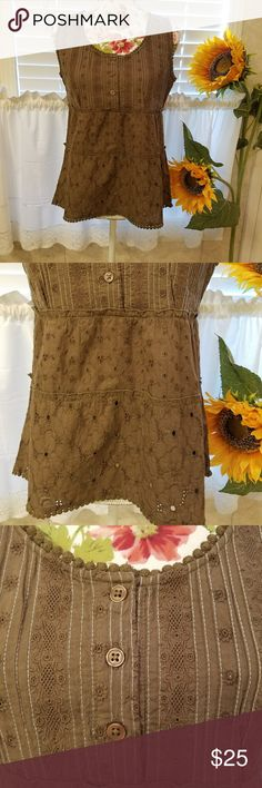 Very EUC prAna eyelet tank top size SMALL Beautiful like new condition, looks never worn. Very fancy eyelet work with 3 different gorgeous eyelet patterns on top, middle, and bottom of tank. Some are gorgeous flower patterns.  3 buttons that are functional on front chest and good and sturdy. Pretty trim on all  edges.  In MINT condition! Very pretty and feminine. More of a little dressy style. So pretty!! prAna  Tops Tank Tops