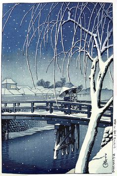 'Evening Snow at Edo River' 1932 woodblock print by Hasui Kawase | by Plum leaves