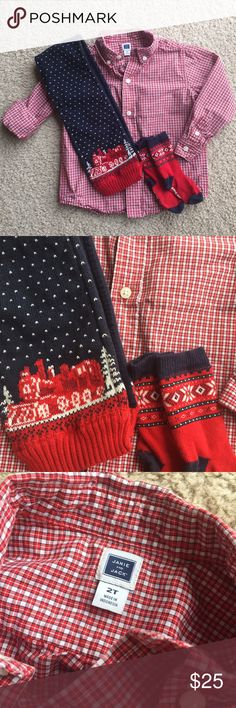 🎄 Weekend Sale🎄Janie & Jack Christmas Outfit Adorable Christmas Red Shirt with coordinating scarf & socks. EUC. Worn only once for Christmas last year. I can ship same day or next. There is still time to get this outfit for your little one before Christmas. Don't wait!!!! Janie and Jack Shirts & Tops Button Down Shirts