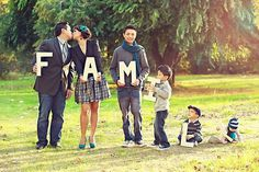 "fun photo idea, ""family"" or your last name or words relating to the occasion or holiday in a variety of arrangements just so it's easy to read."