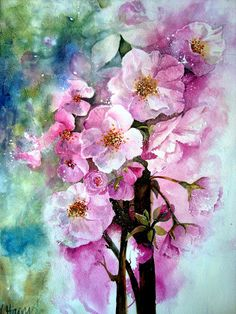 Watercolour Florals: Cherry Blossom Yvonne Harry