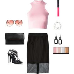 Pretty in Pink by fromphilly on Polyvore featuring polyvore, fashion, style, Versace, Milly, Dsquared2, Christian Louboutin, Rebecca, Dinny Hall, Michael Kors, Clé de Peau Beauté and NARS Cosmetics