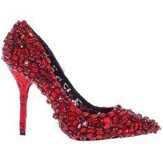 Dolce&Gabbana Pre-owned Dolce&gabbana Crystal Bellucci Runway Eu38 / Us7.5 Red Pumps