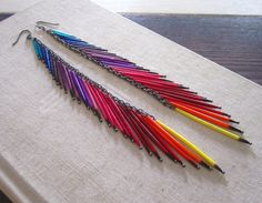 rainbow porcupine quill earrings