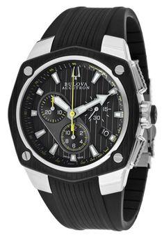 Accutron by Bulova Men's Corvara GMT Chronograph Black Dial Black Rubber