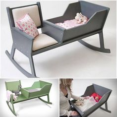 DIY rocking chair cradle with cot - you can comfortably . - Baby deco - DIY rocking chair cradle with cot — you can comfortably … - Baby Furniture, Furniture Projects, Wood Furniture, Wood Projects, Furniture Design, Furniture Removal, Furniture Plans, Luxury Furniture, Diy Bebe
