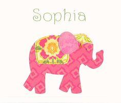 Nursery wall art baby girl elephant art custom made by JadieBaby, $24.00