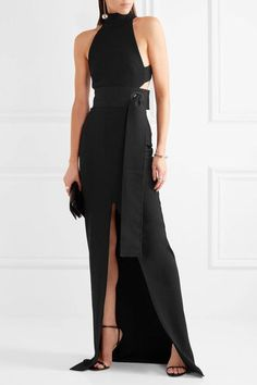 Solace London - Piper Belted Cutout Stretch-crepe Gown - Black - UK12