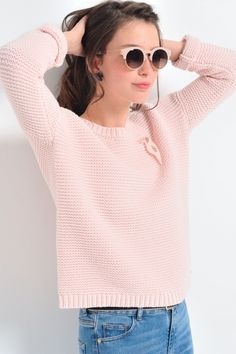 Pull dakotac rose - pull - des petits hauts 1 Pull Coton Femme, Des Petits 026f6da4b01f