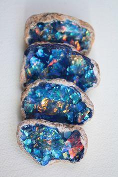 Polymer faux opals #blue