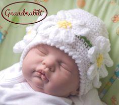 Ready For Sale Crocheted Baby Girl White Daisy by Grandmabilt, $15.00