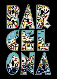 Vintage Travel Poster - Barcelona - by Javier Mariscal - Spain.