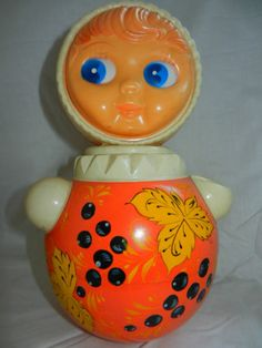 Very rare 1960's celluloid VTG Russian Soviet TOY Nevalyashka doll roly-poly old