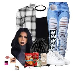 """""""Untitled #194"""" by trending-boo ❤ liked on Polyvore featuring T By Alexander Wang, Veronica Beard, Xenab Lone, HUF, NIKE, Casetify, Lime Crime, Dena and Loren Olivia"""