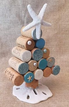 Mini Christmas Tree Idea Excited to share this item from my shop: Wine Cork Christmas Trees with LED lighting Natural Beach Christmas Multi-Shell Ornaments 3 ornaments Beach Christmas Trees, Coastal Christmas Decor, Mini Christmas Tree, Holiday Tree, Christmas Decorations, Coastal Decor, Nautical Christmas, Holiday Decor, Scandinavian Christmas