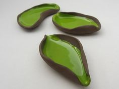 """art - design: ceramics by Saskia Lauth - """"Chocolate-Pistachio"""" series, 2015, small dishes in natural shapes, brown clay, apple green glaze - www.saskia-lauth.com"""