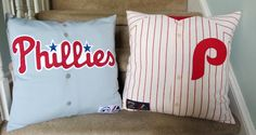 Check out these Stuffed Shirt pillows Sweet Bee Buzzings made for a friend's man-cave. Yes, she used real jerseys that he provided!