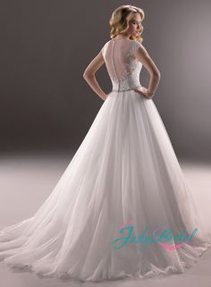 JW14087 sexy scoop necked lace top sheer back tulle ballgown wedding dress with short cap sleeves maggie Adrien