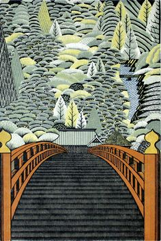 Ray Morimura : Shomyo-ji Temple in Kanazawabunko Japanese Illustration, Illustration Art, Illustrations, Botanical Illustration, Japanese Modern, Japanese Prints, Art Occidental, Art Asiatique, Art Japonais