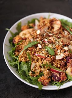 A great warm lentil salad recipe with roasted vegetables, apple, almonds and a simple sweet mustard dressing Vegetarian Recipes Easy, Veggie Recipes, Healthy Recipes, Keto Recipes, Warm Salad, Winter Salad, Grilled Vegetables, Veggies, Healthy Salads