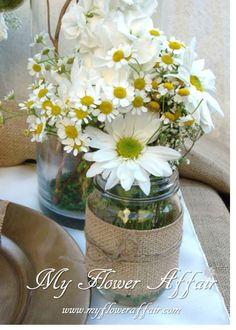 Wedding flowers and custom linens by My Flower Affair. www.myfloweraffai... wedding flowers, wedding decor, wedding flower centerpiece, wedding flower arrangement, bouquet rustic country burlap mason jar